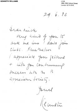 Kenneth Williams letter