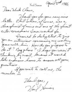 Neil Simon letter
